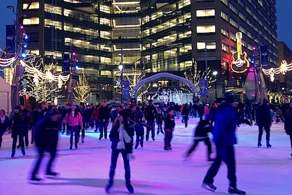 Ice skating at Campus Martius Park