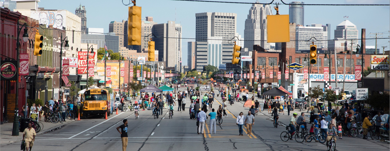 Pedestrians invade Michigan Avenue during Open Streets Detroit